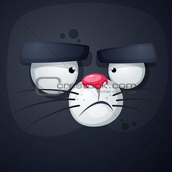 Cat cartoon face - funny illustration.