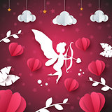 Cupid, angel, heart - paper illustration. Cloud, star, leaf.