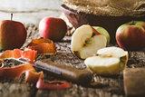 Peeled apple on table