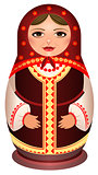 Woman in scarf national symbol of Russian doll