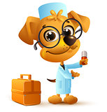 Yellow funny dog doctor in uniform holding pill