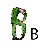letter B bee. Business people silhouette alphabet