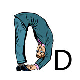 letter D dee. Business people silhouette alphabet