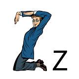 letter Z zed zee. Business people silhouette alphabet