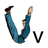letter V vee. Business people silhouette alphabet