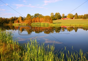 Autumn Farm Pond with Barn