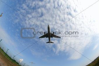Airplane in fisheye