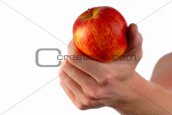 apple in  man's hand
