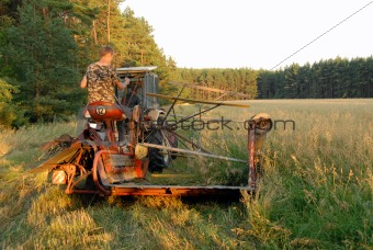 old tractor in action