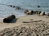 ocean beach with rocks