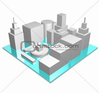 Central Business District in 3d