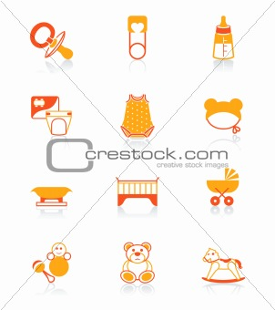Babies objects red-orange icon-set
