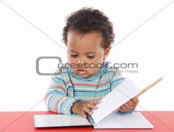 adorable baby studying