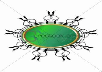 Green floral grunge shield