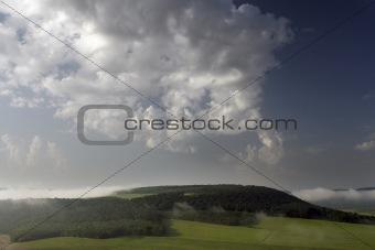 Fog above hills