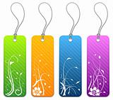 Floral product tags in 4 colors