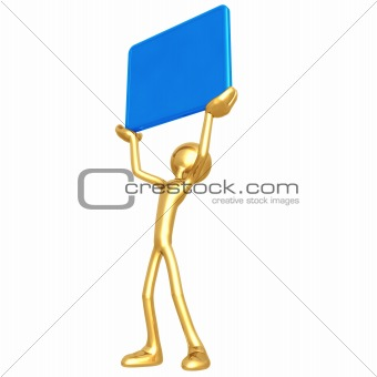 Character Holding Up A Blank Sign