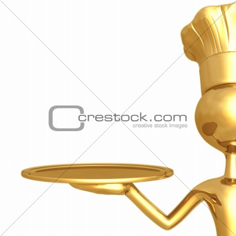 Golden Chef With Empty Serving Tray