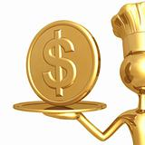 Golden Chef Serving A Dollar Coin