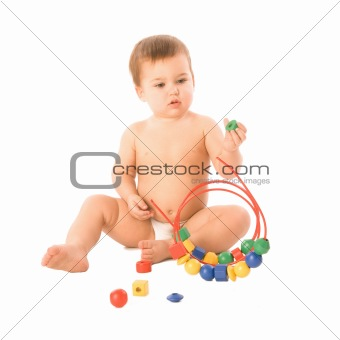 Boy with multicolored cubes