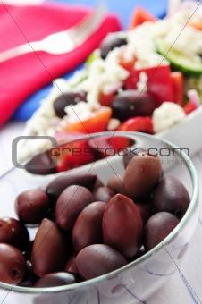 Olives and greek salad