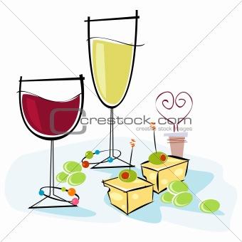 Retro-style Wine & Cheese