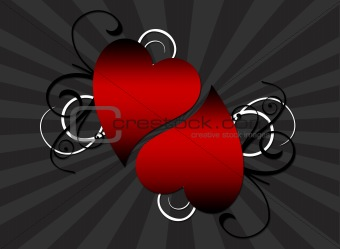 A decorative background featuring a pait  of hearts