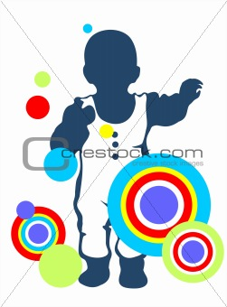baby and abstract pattern