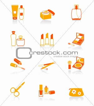 Cosmetics objects red-orange icon-set