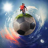Football players in a soccer ball planet