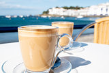 caffe macchiato in the seafront of Cadaques, Spain