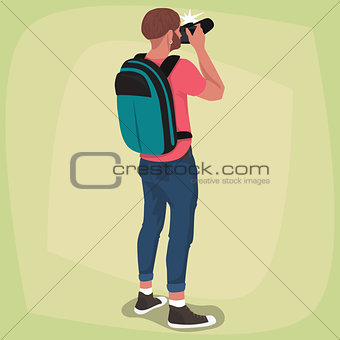 Isolated photographer with his back