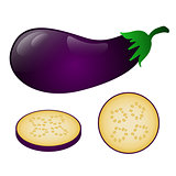 Dark purple eggplant and its pieces isolated on white background
