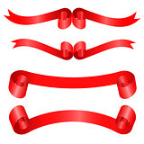 Red atlas ribbons isolated on a white background.