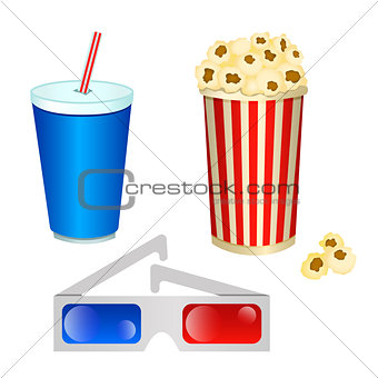 Set of vector illustrations of cinema consisting of 3D glasses a