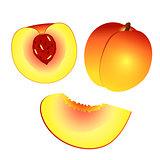 Yellow orange peach and half peach and slice isolated on white b
