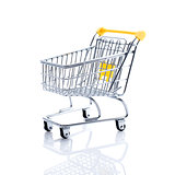 Miniature shopping cart on white background