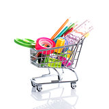 Stationery accessories in a shopping cart