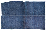 Collection of dark blue jeans fabric textures