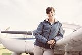 Confident female pilot