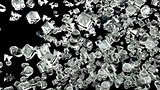 Ice abstract geometric figures flying in slow motion. 3D rendering
