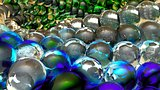 Ice abstract spheres rotating in slow motion. 3D rendering