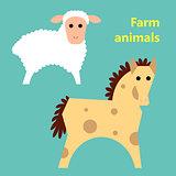 Farm animals sheep and horse