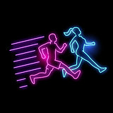 Glowing Neon Running Active People Sign