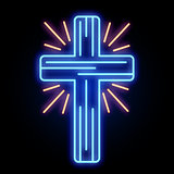 Neon Church Cross Light Sign