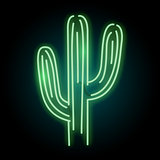 Neon Glowing Cactus Plant Light Sign
