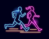 Neon Light Running People Sign