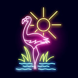 Tropical Flamingo Neon Light Scene