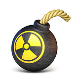 Bomb with the radiation sign 3D rendering illustration on white
