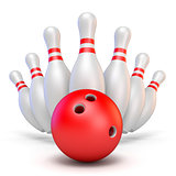 Red bowling ball and scattered pins 3D rendering illustration on